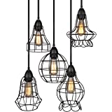 Best Choice Products 5-Light Industrial Metal Hanging Pendant Lighting Fixture w/Adjustable Cord Lengths - Black