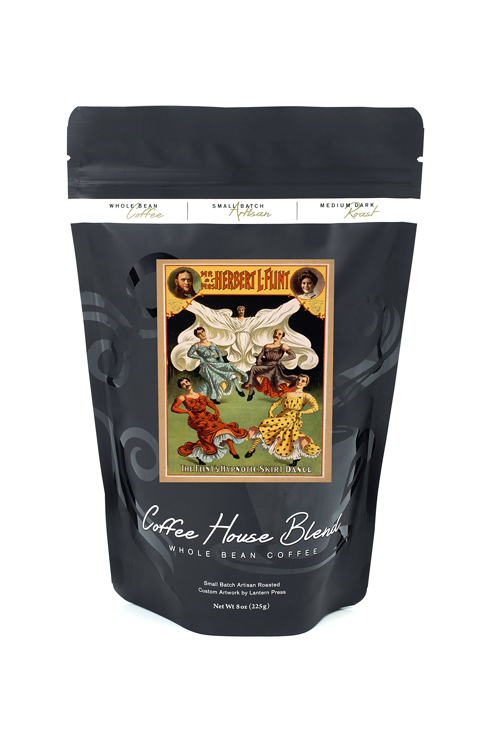 The Flints Hypnotic Skirt Dance Theatrical Poster (8oz Whole Bean Small Batch Artisan Coffee - Bold & Strong Medium Dark Roast w/ Artwork)