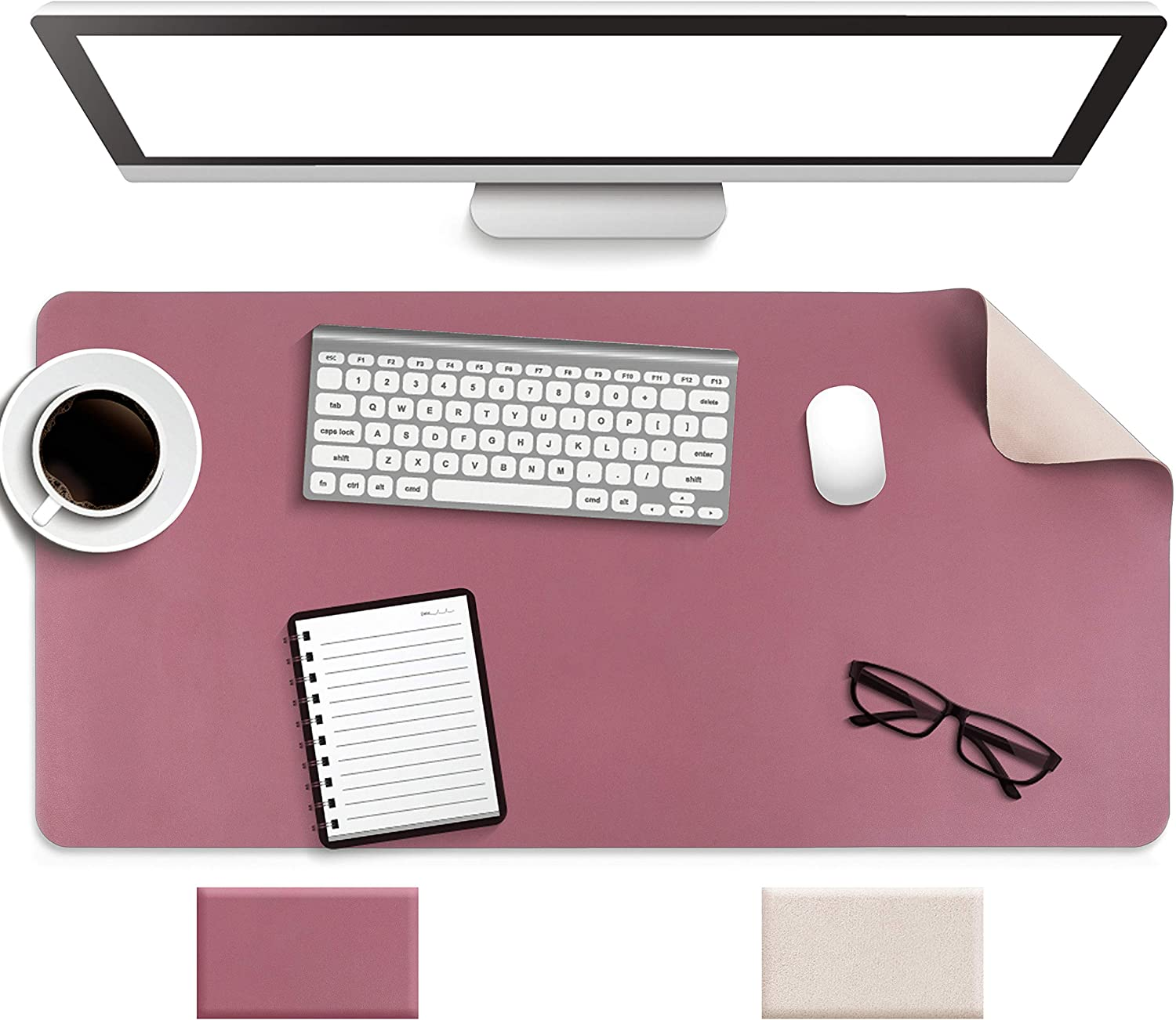 "Non-Slip Desk Pad, Waterproof PVC Leather Desk Table Protector, Ultra Thin Large Mouse Pad, Easy Clean Laptop Desk Writing Mat for Office Work/Home/Decor (Dark Pink, 31.5"" x 15.7"")"