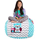 "Posh Stuffable Kids Stuffed Animal Storage Bean Bag Chair Cover - Childrens Toy Organizer, Large-38"" - Canvas Owls White…"