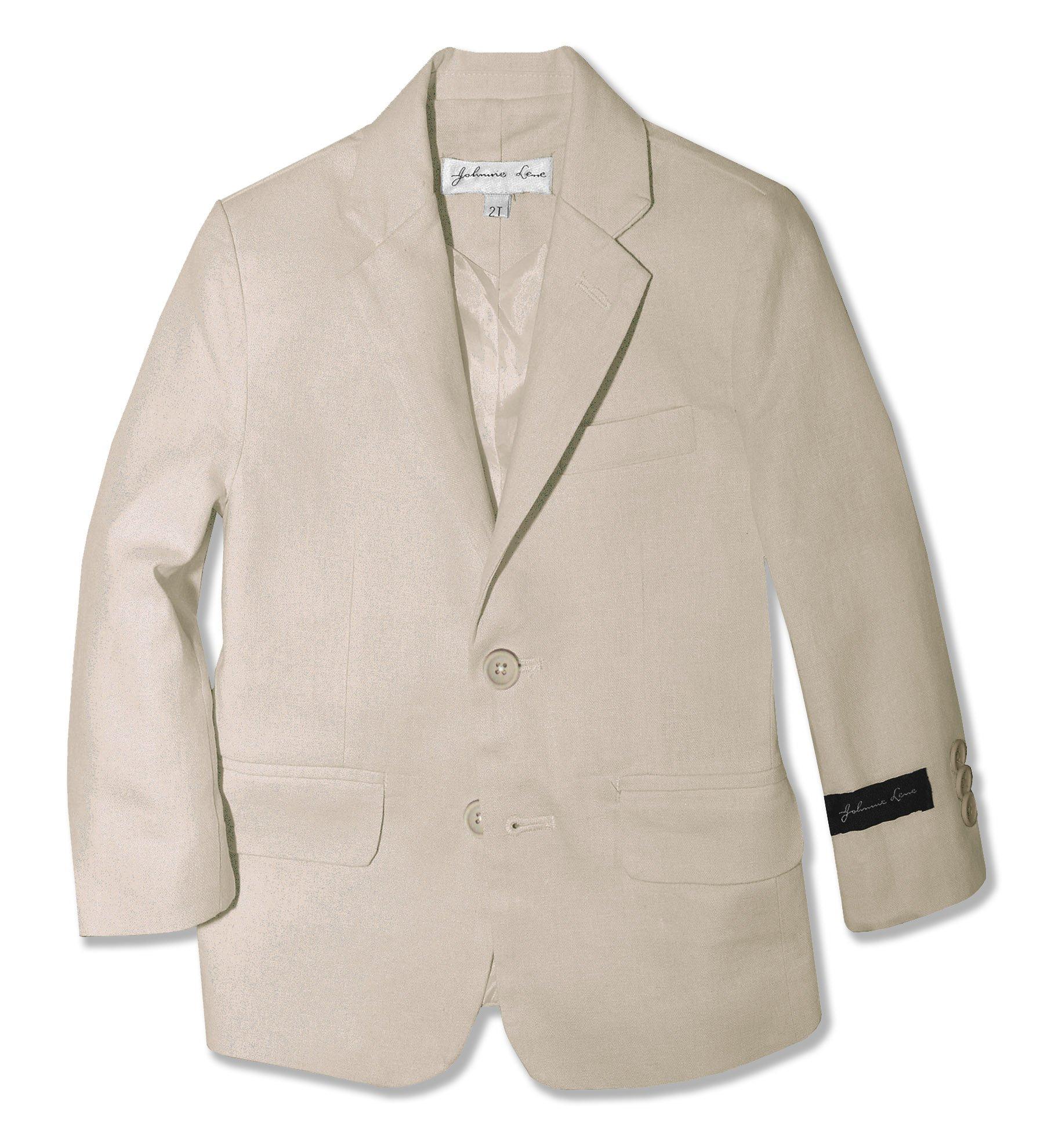 Johnnie Lene Toddlers Kids Boys' Cotton/Linen Blazer Jacket #JJL38 (2T, Natural) by Johnnie Lene (Image #1)