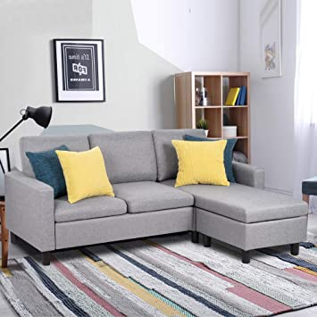 L-Shaped Couch with Linen Fabric for Small Space Modern Sofa Set for Living Room Shintenchi Sectional Sofa Couch Convertible Chaise Lounge Brown