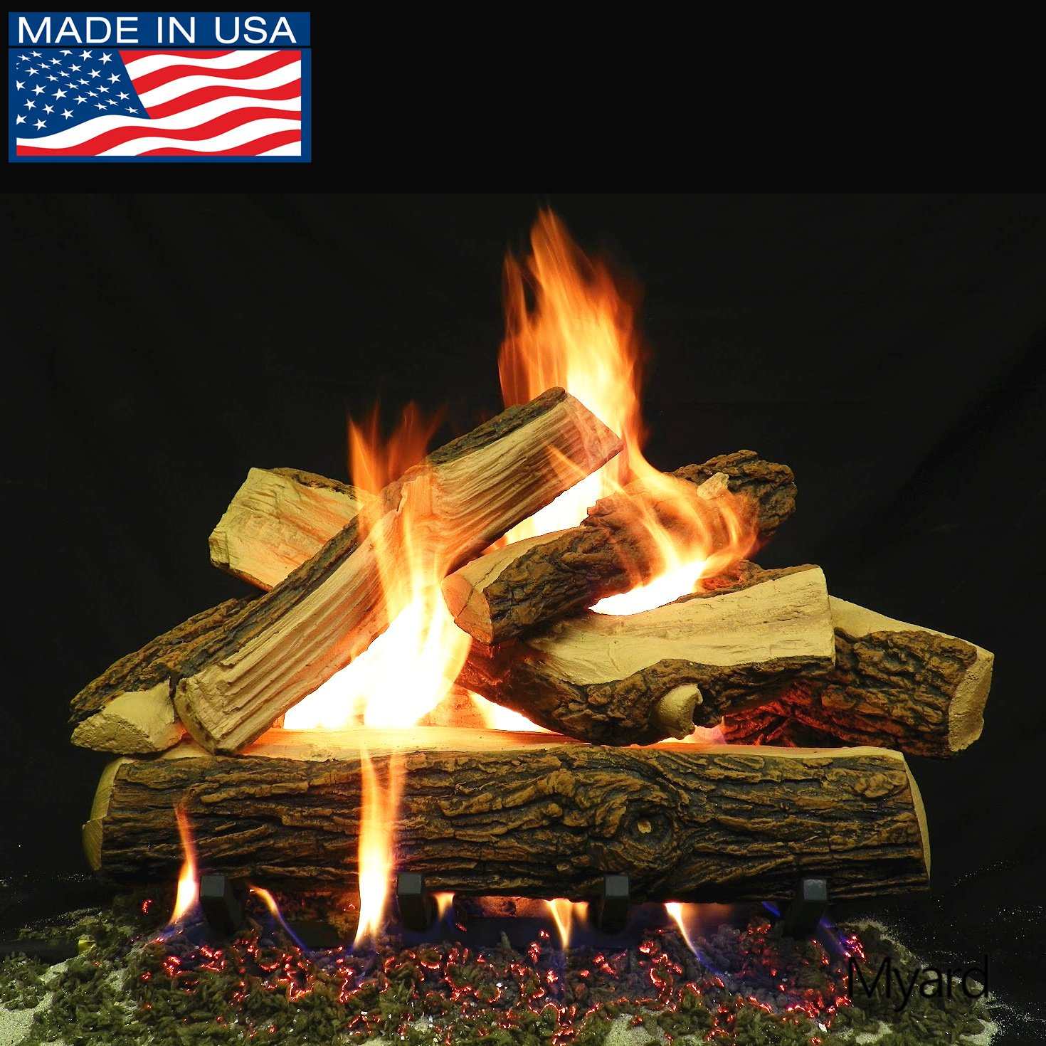 PayandPack Myard DELUXE 24'' inches Country SPLIT Fire Gas Logs (LOGS ONLY) for Natural Gas/Liquid Propane Vented Fireplace by PayandPack