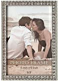 L&T Silver Metal Picture/Photo Frame with Brilliant Crystals 4 x 6 Inch