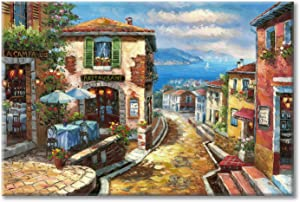 "Coastal Cityscape Oil Painting Artwork: Italian Town Canvas Wall Art Mediterranean Style Street Painting for Living Room (36"" x 24"" x1 Panel)"