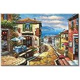 UTOP-art Coastal Cityscape Oil Painting Artwork: Italian Town Canvas Wall Art Mediterranean Style Street Painting for Living