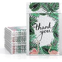 Fuxury Bubble Mailers 4x8 Tropical Flamingo Thank You Poly Bubble Mailer, Bulk 50 Pack #000 Mailer, Custom Designer…