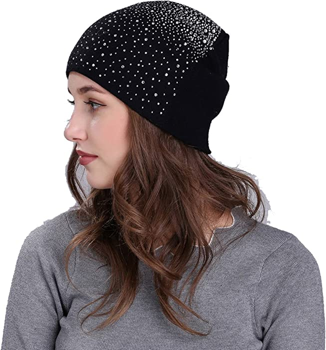 Outdoor Rabbit Velvet Womens Hats Rhinestones Winter Warm Knitted Beanie  Hat Cap 3ef4ae60bdbe