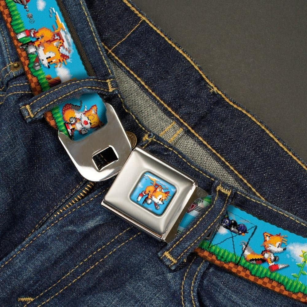 1.0 Wide Tails Pixelated Game Play Scene Buckle-Down Seatbelt Belt 20-36 Inches in Length