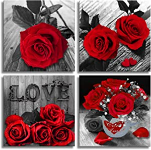Canvas Wall Art Red Rose Painting Black and White Wall Art Flower Pictures Canvas Print for Living Room Bedroom Home Decorations 4 Pieces
