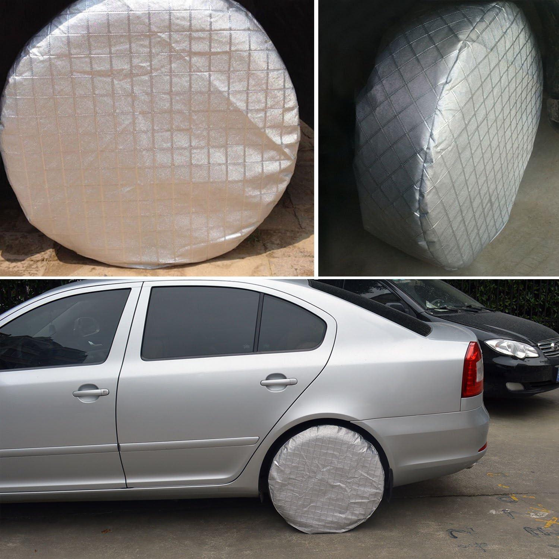 Set de 4 cubiertas de aluminio que protegen los neum/áticos del sol y del agua YBB Fundas para neum/áticos
