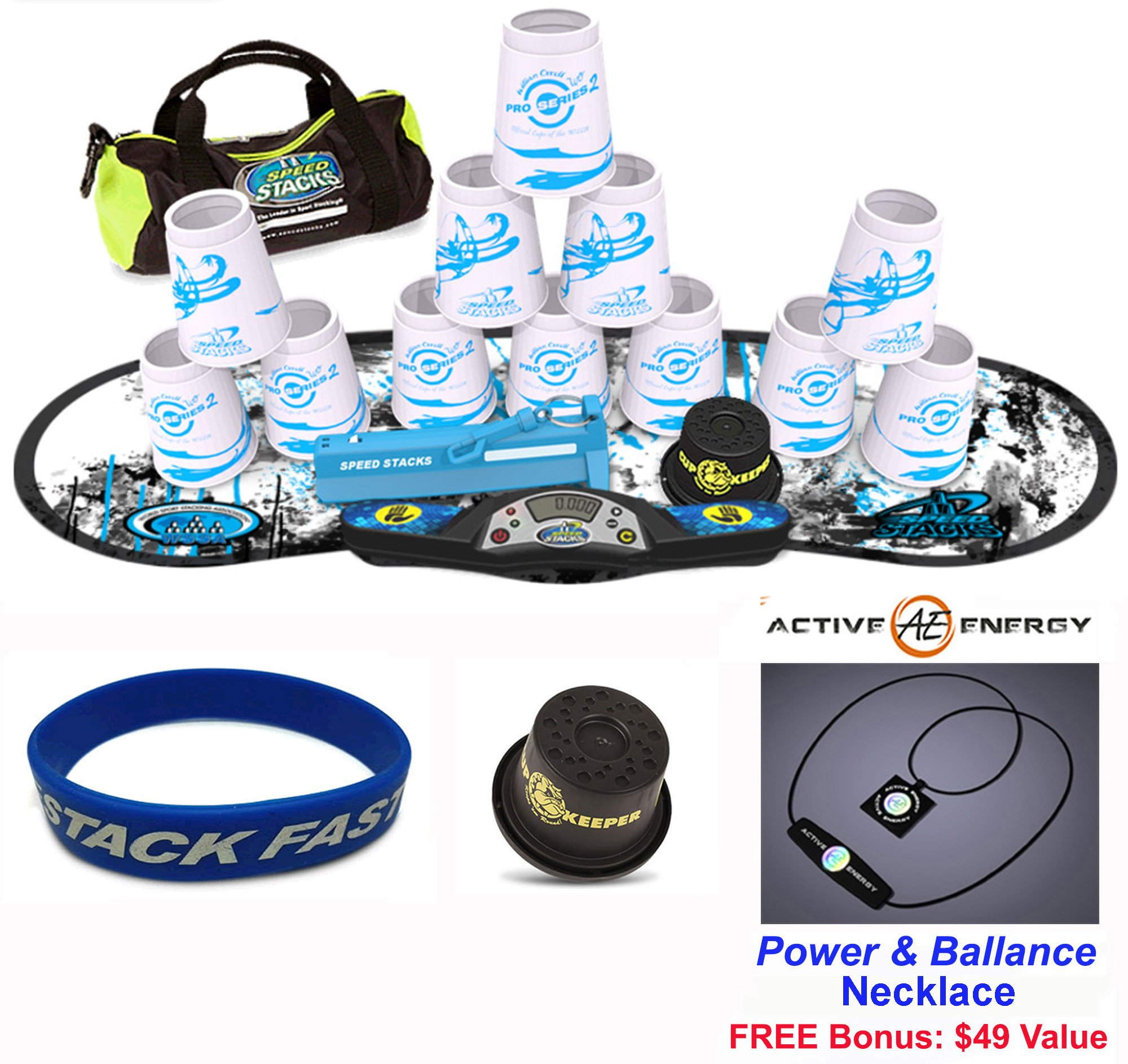 Speed Stacks Combo Set ''The Works'': 12 PRO Series #2 4'' Cups, REBEL MUDD Gen 3 Mat, G4 Pro Timer, Cup Keeper, Stem, Gear Bag, Speed Stacks Wristband + Active Energy Necklace by Speed Stacks