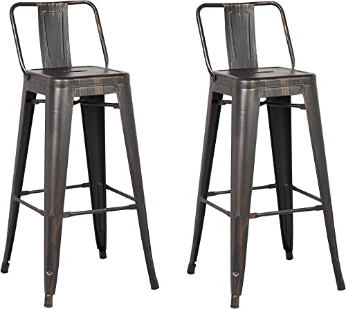 AC Pacific Low Back Indoor and Outdoor Metal Chair Barstool Black 30-Inch Set of 2