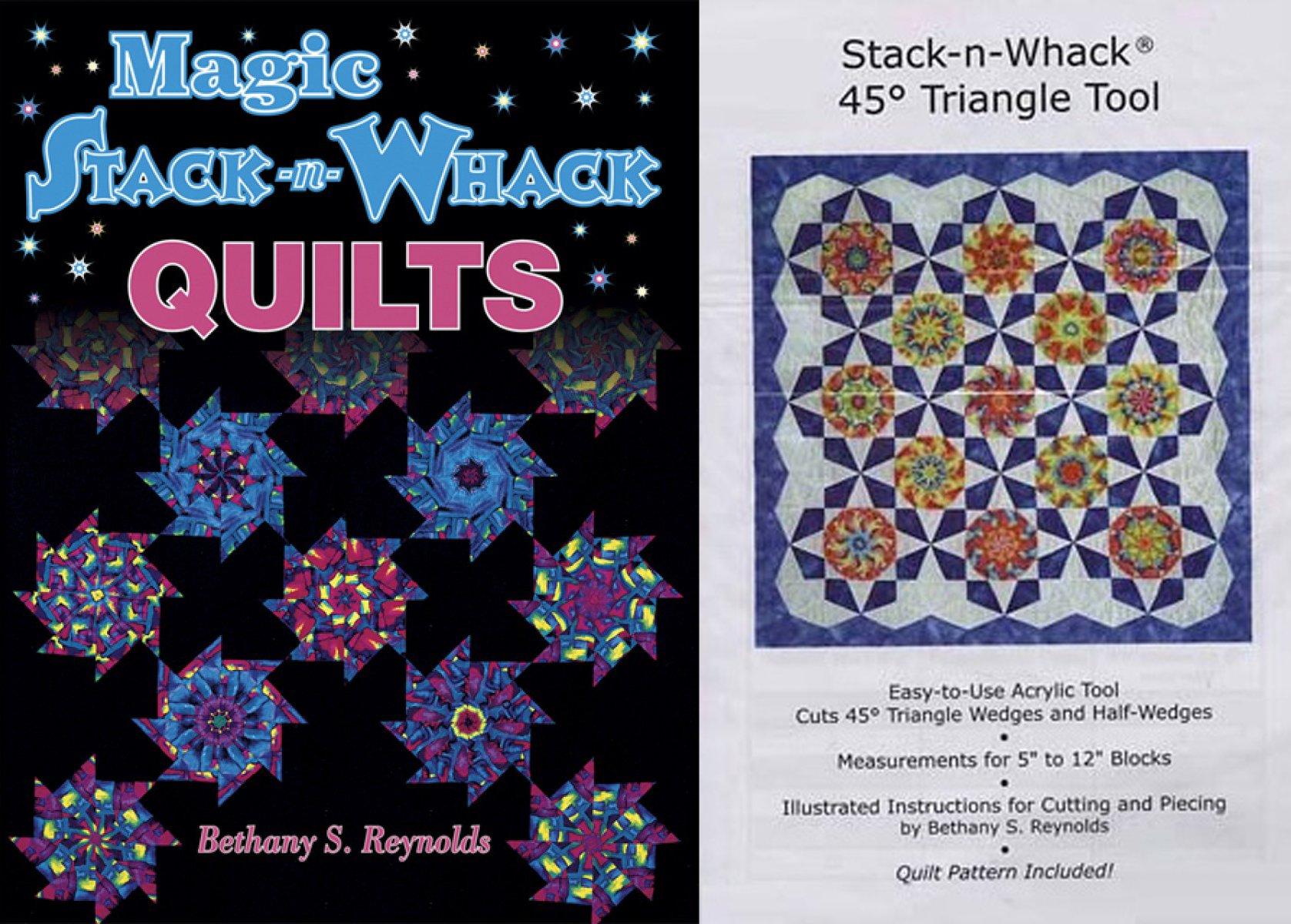 Stack-n-Whack Bundle- Magic S-n-W Quilts Book and 45-degree Triangle Template Tool by Stack-n-Whack
