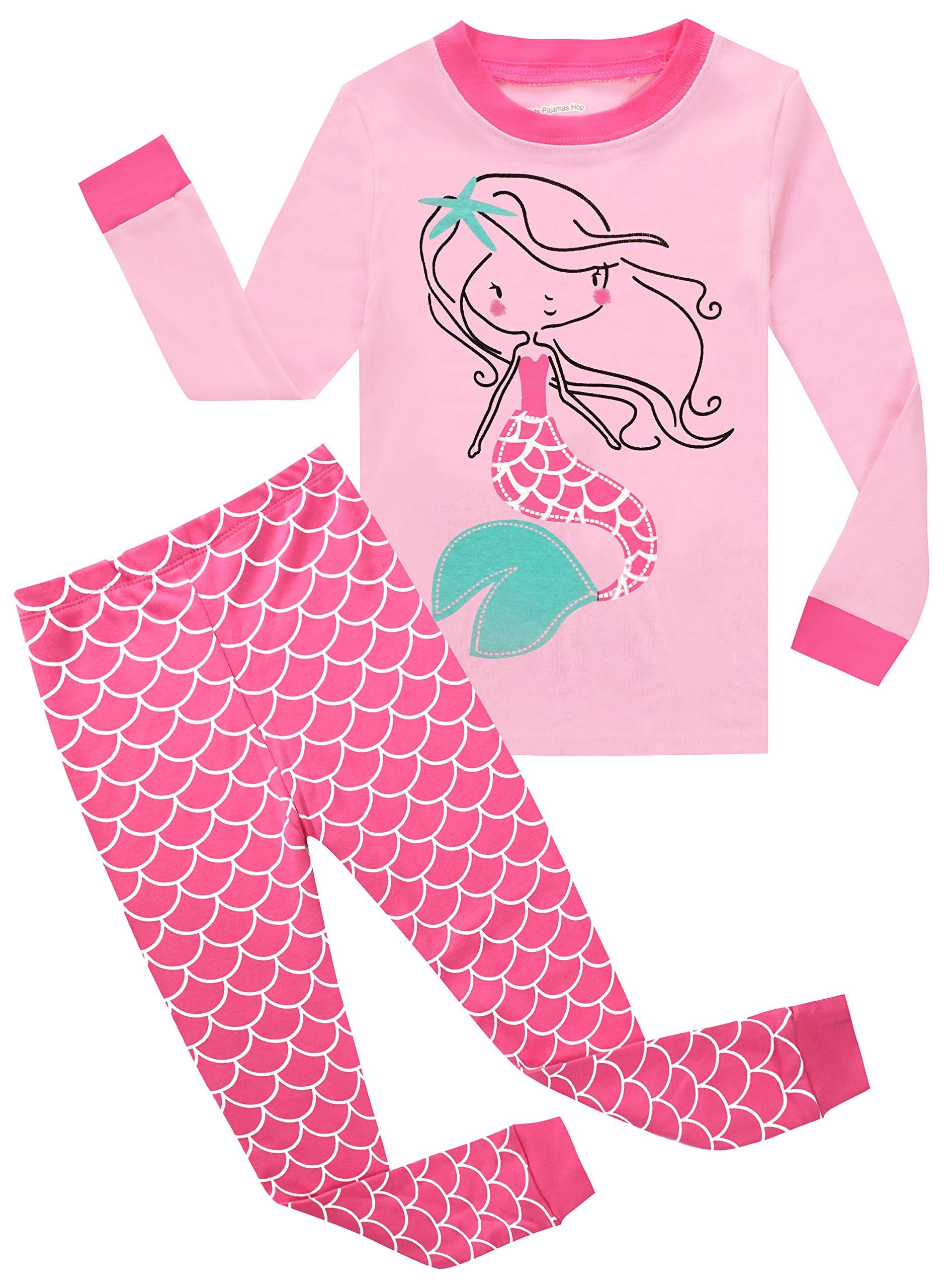 7a125211291e Kids Pajamas Hop Girl s Mermaid Pajamas Cotton Clothes Set Children ...