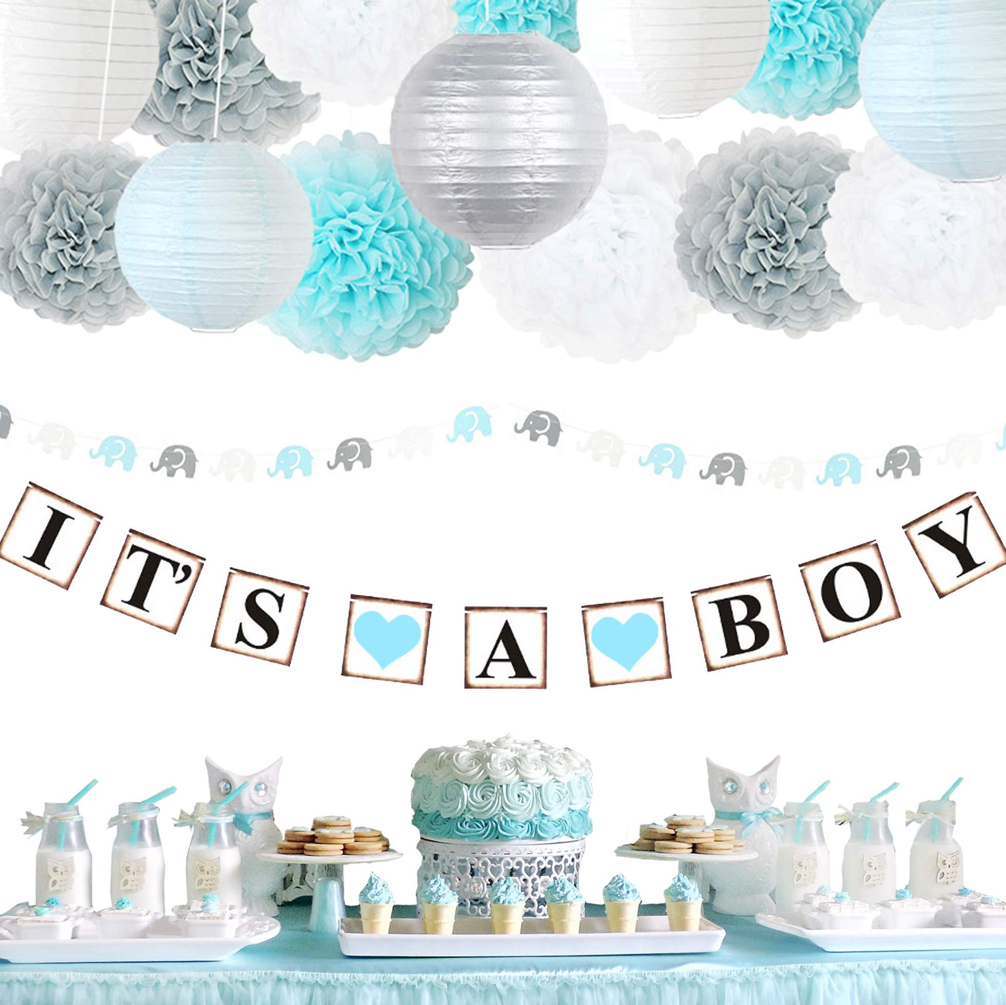 LeSparkle Baby Shower Decorations For Boy | Premium Quality IT'S A BOY Banner | Elephant Garland | Flower Pom Poms | Paper Lanterns (Light Blue White Grey) by LeSparkle creations