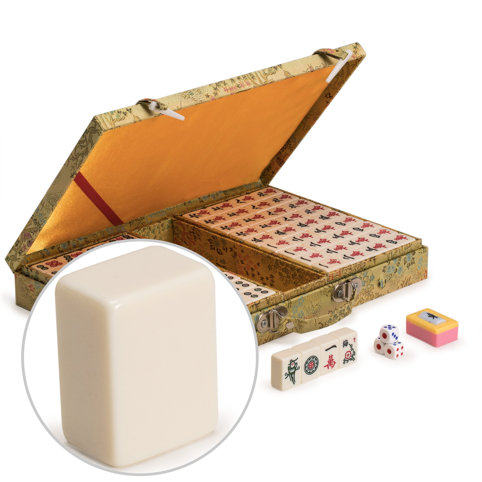 Yellow Mountain Imports Chinese Mahjong (Mah Jong, Mahjongg, Mah-Jongg, Mah Jongg, Majiang) Game Set with Ivory Colored Tiles, Embroidered Silk Case, Small Size