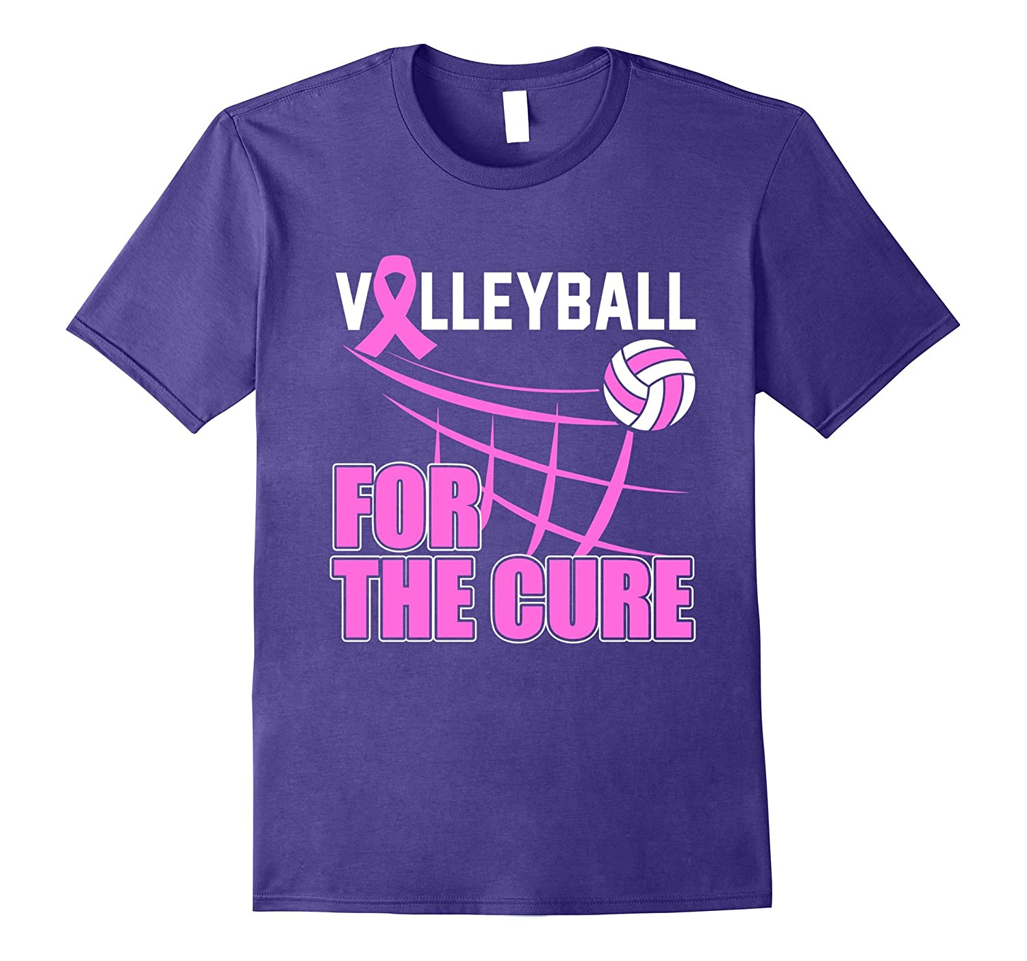 Breast Cancer Awareness Volleyball For The Cure T Shirt-FL