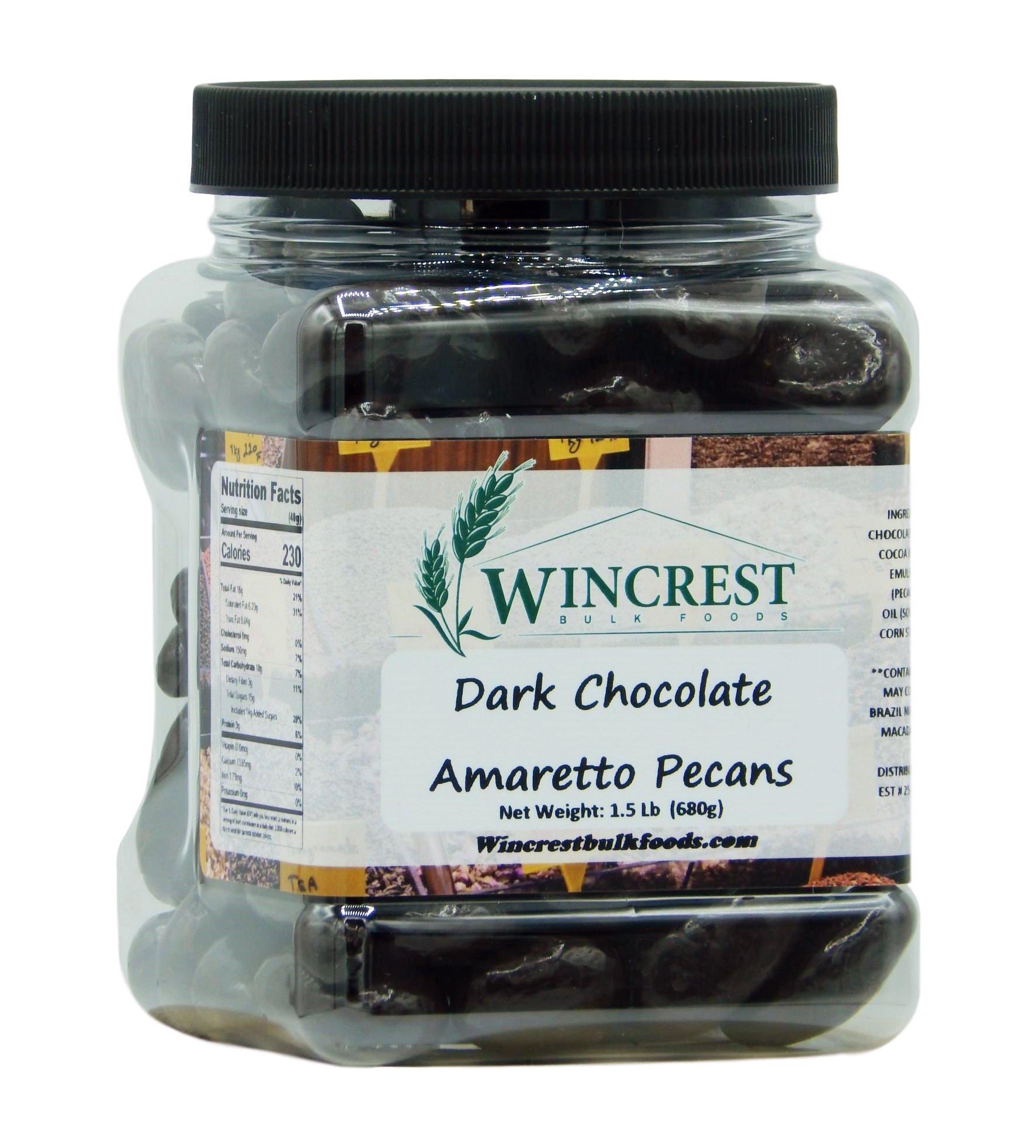 Dark Chocolate Amaretto Pecans - 1.5 Lb Tub