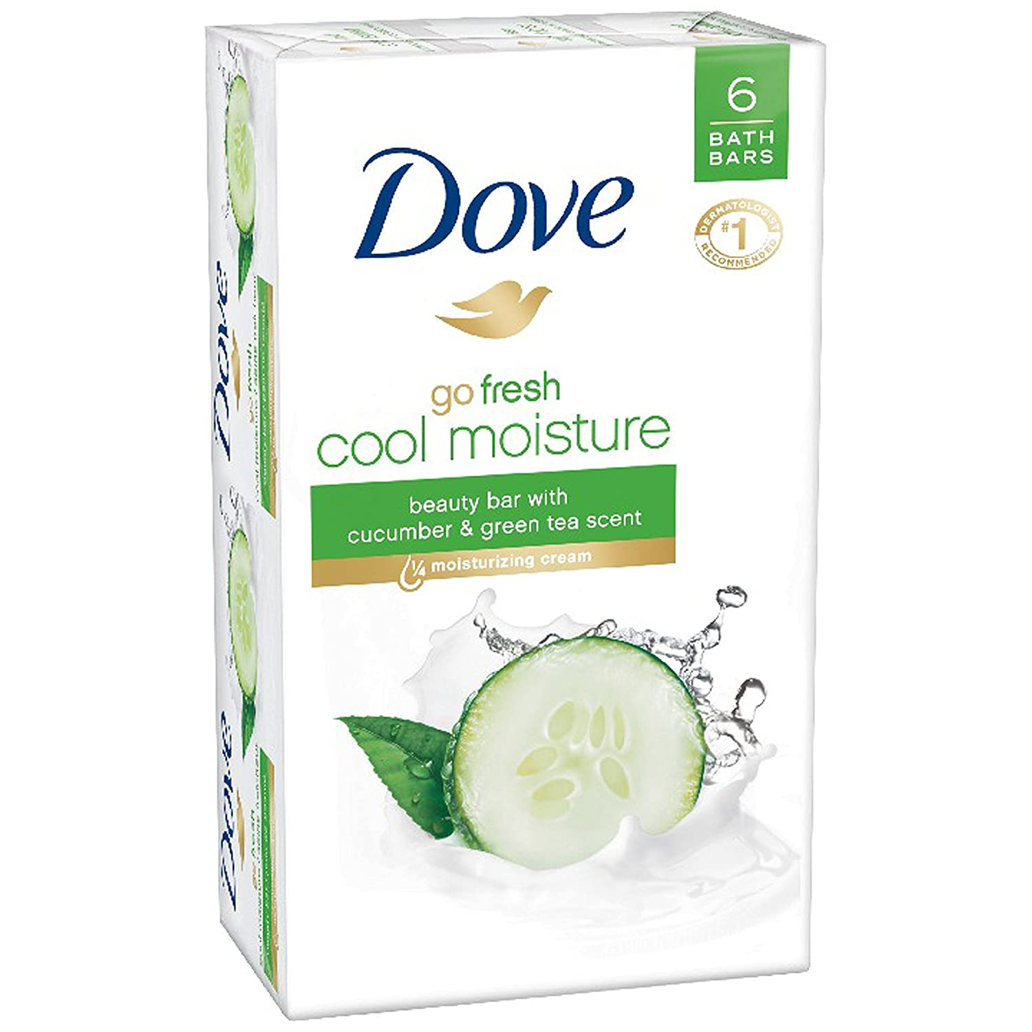 Dove go fresh Beauty Bar, Cucumber and Green Tea 4 Ounce, 6 Bar