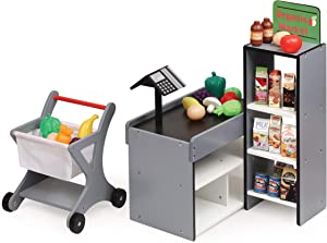 Badger Basket Fresh Market Doll Grocery Stand with Shopping Cart and Food for 18 inch Dolls, Grey/White/Black/Multi (12030)