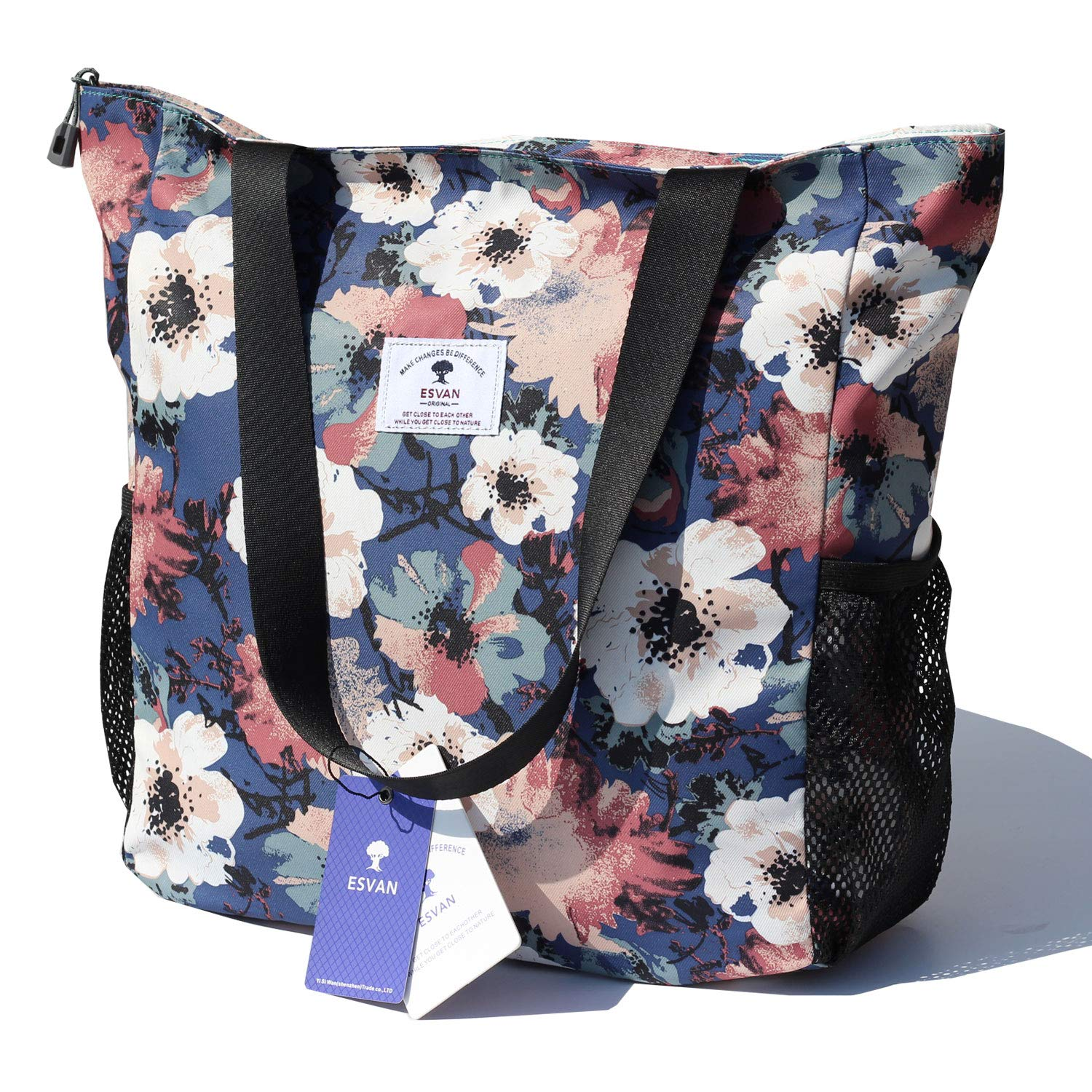 Original Floral Water Resistant Large Tote Bag Shoulder Bag for Gym Beach Travel Daily Bags Upgraded by ESVAN
