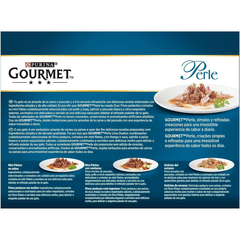 Purina Gourmet Perle Finas Láminas DUO del Mar comida para gato en Salsa 10 x [8 x 85 g]: Amazon.es: Productos para mascotas