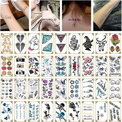 Oottati 36 Hojas Pequeño Lindo Tatuaje Temporal Diamante Cámara ...