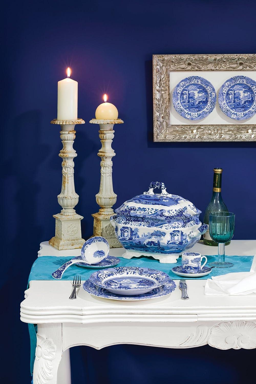 Spode 783931401145 Italian Soup Tureen and Ladle Set, Blue, White, Set Portmeirion USA
