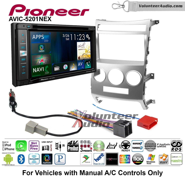 Pioneer AVIC-5201NEX Double Din Radio Install Kit with Navigation Apple Carplay Bluetooth Fits 2007-2012 Hyundai Veracruz (Manual A/C Controls)