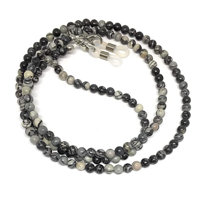 6469d9df246c Image Unavailable. Image not available for. Color  black silk stone eyeglass  chain for reading glasses