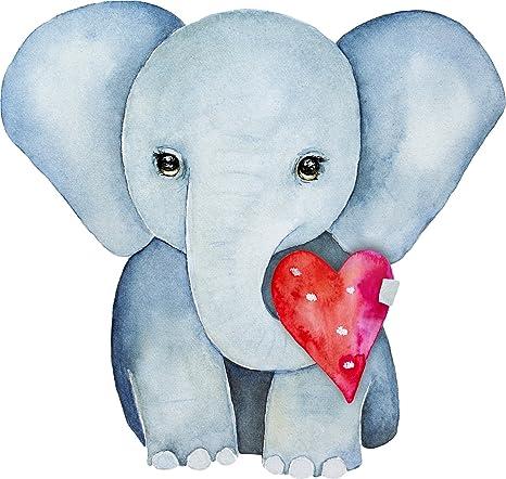 Amazon.com: Dulce bebé elefante acuarela arte con corazón ...
