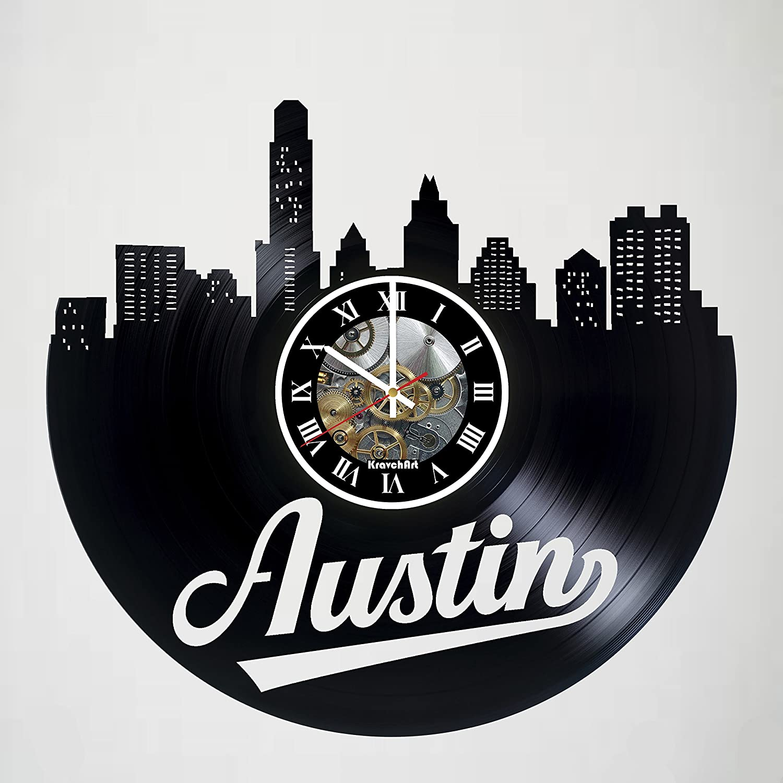 kravchart Austin – Texas – Texas – Skylineビニールレコード壁時計 – – アートワークギフトアイデアの誕生日、クリスマス、レディース、メンズ、友人、ガールフレンドボーイフレンドとティーン – リビング子供部屋保育園 B07CWTYT1Q, ブレーメンストア:c8f10cc9 --- ijpba.info