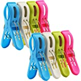 8 Pack IPOW Beach Towel Clips,Plastic Quilt Hanging Clips Clamp Holder for Beach Chair or Pool Loungers on Your Cruise-Keep Your Towel From Blowing Away,Fashion Bright Color Jumbo Size