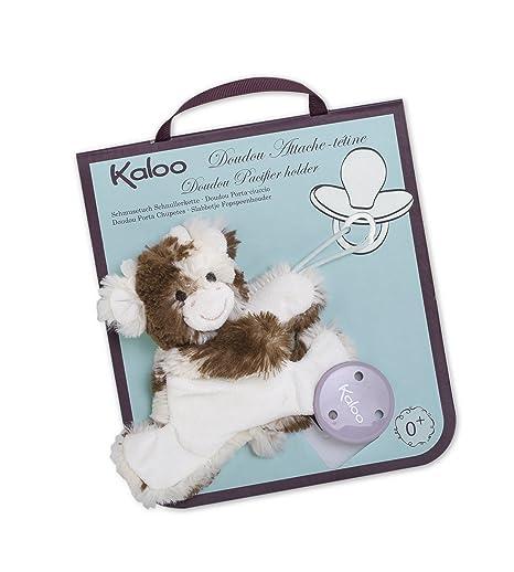 Kaloo - Serie Amiguitos, Porta chupetes modelo vaca de peluche Milky (Juratoys K962757)