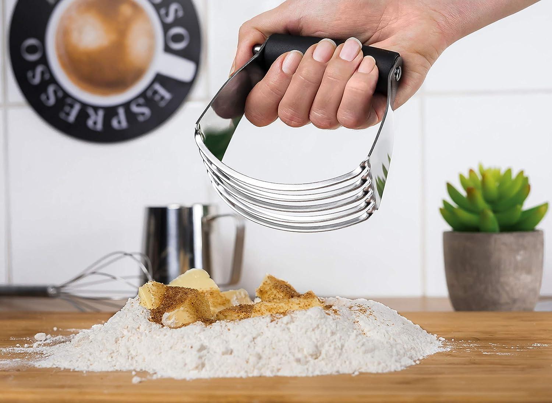 Cortador de Masa Accesorio de Pasteler/ía Pastry Blender de Acero Inoxidable con Mango de Goma Antideslizante Grannys Kitchen Batidora Manual