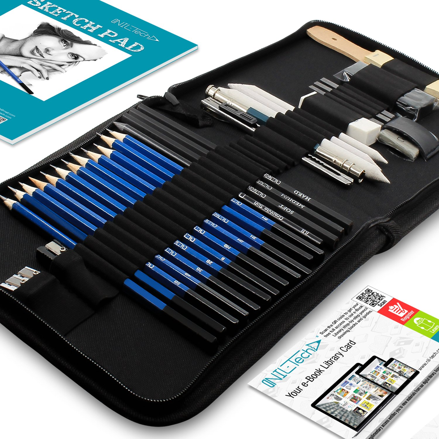 Drawing Pencils Art Supplies – 35 Sketching Tools Set – Each Art Kit Includes BONUS Drawing Pad and Digital Library Drawing Tutorials Cool Stuff - Pencil Pouch, Graphite Charcoal Pencils, Erasers