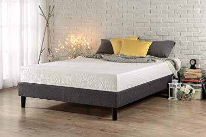 Amazon.com: Zinus Essential Upholstered Platform Bed Frame/Mattress ...