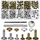 Bememo 120 Set Leather Rivets Double Cap Rivet Buttons with Setting Tool Kit and Storage Box for DIY Leather Craft, 3 Sizes (Silver and Bronze)