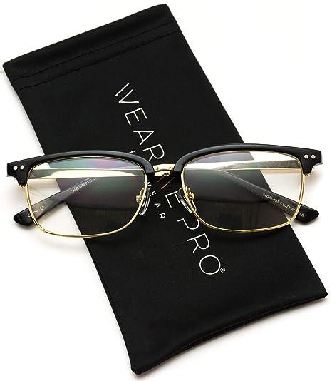 5130d1c8f1 WearMe Pro - Elegant Semi-Rimless Metal Frame Square Prescription Clear  Glasses