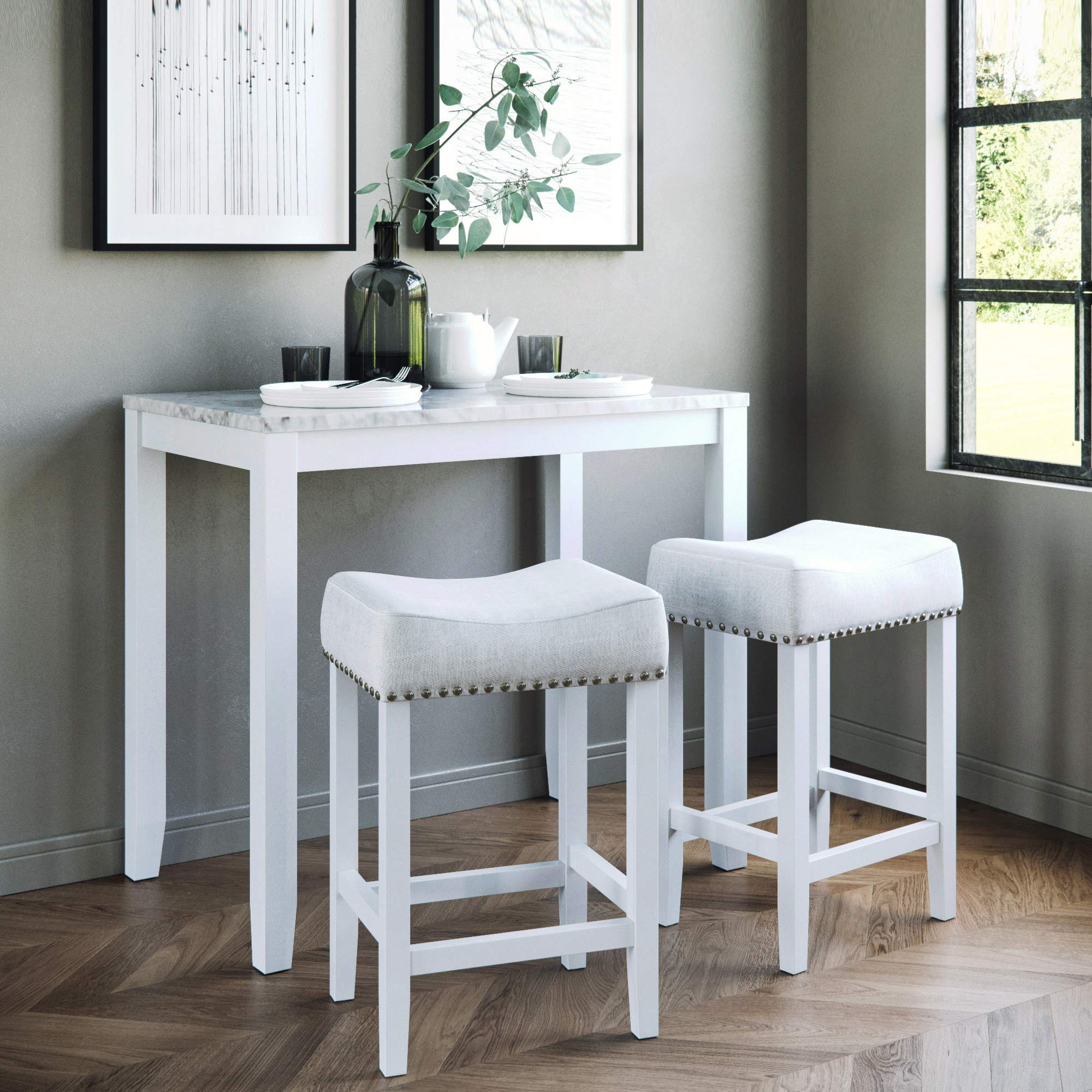 Nathan James 41201 Viktor Dining Set Kitchen Pub Table Marble Top Fabric Seat Wood Base, Light Gray/White by Nathan James