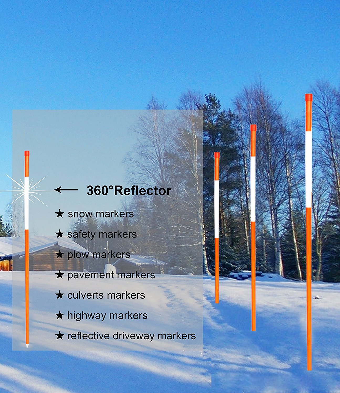 50 Pack FiberMarker 24-Inch Reflective Driveway Markers Driveway Poles for Easy Visibility at Night 5//16 Inch Diameter Orange