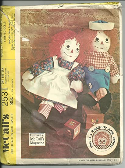 Amazon.com: McCall\'s 2531 Vintage Sewing Pattern for Raggedy Ann and ...