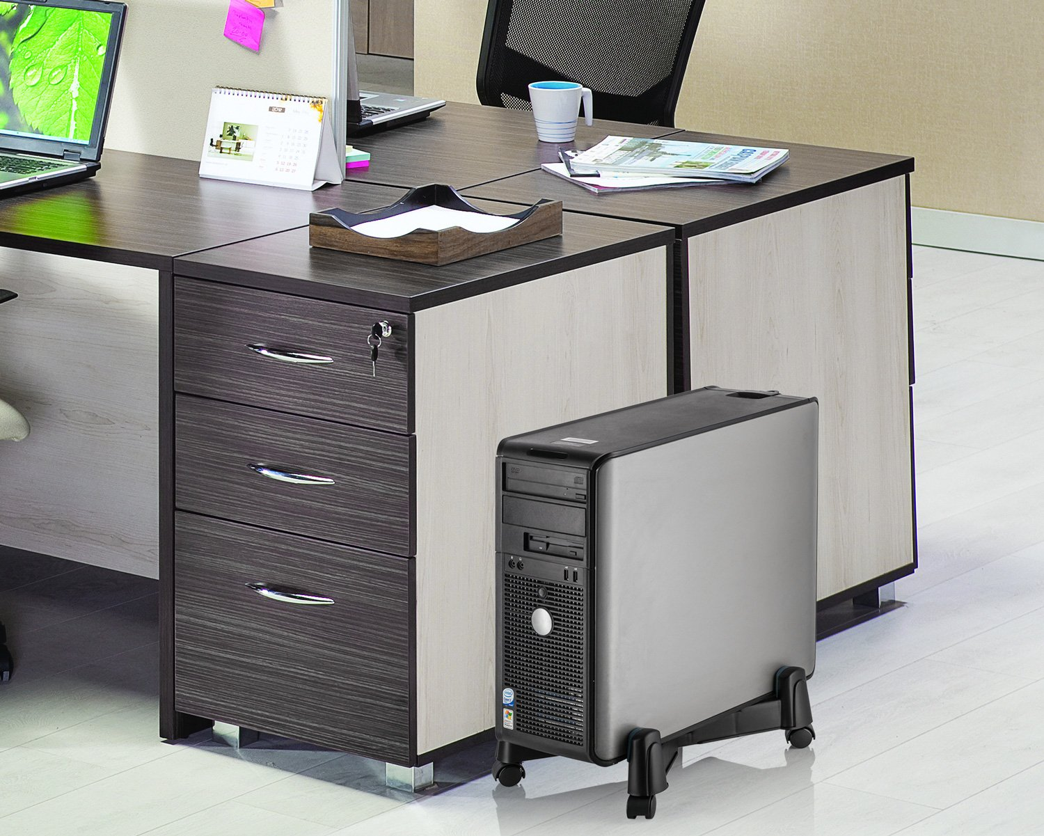 Halter LZ-401 PC Computer Stand Case Caddy for Desktop//Tower Cases with Adjustable Width and 4 Caster Rolling Wheels