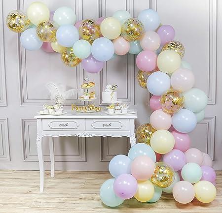 80 Globos de 12 pulgadas en colores pastel y surtido con globos de confeti.