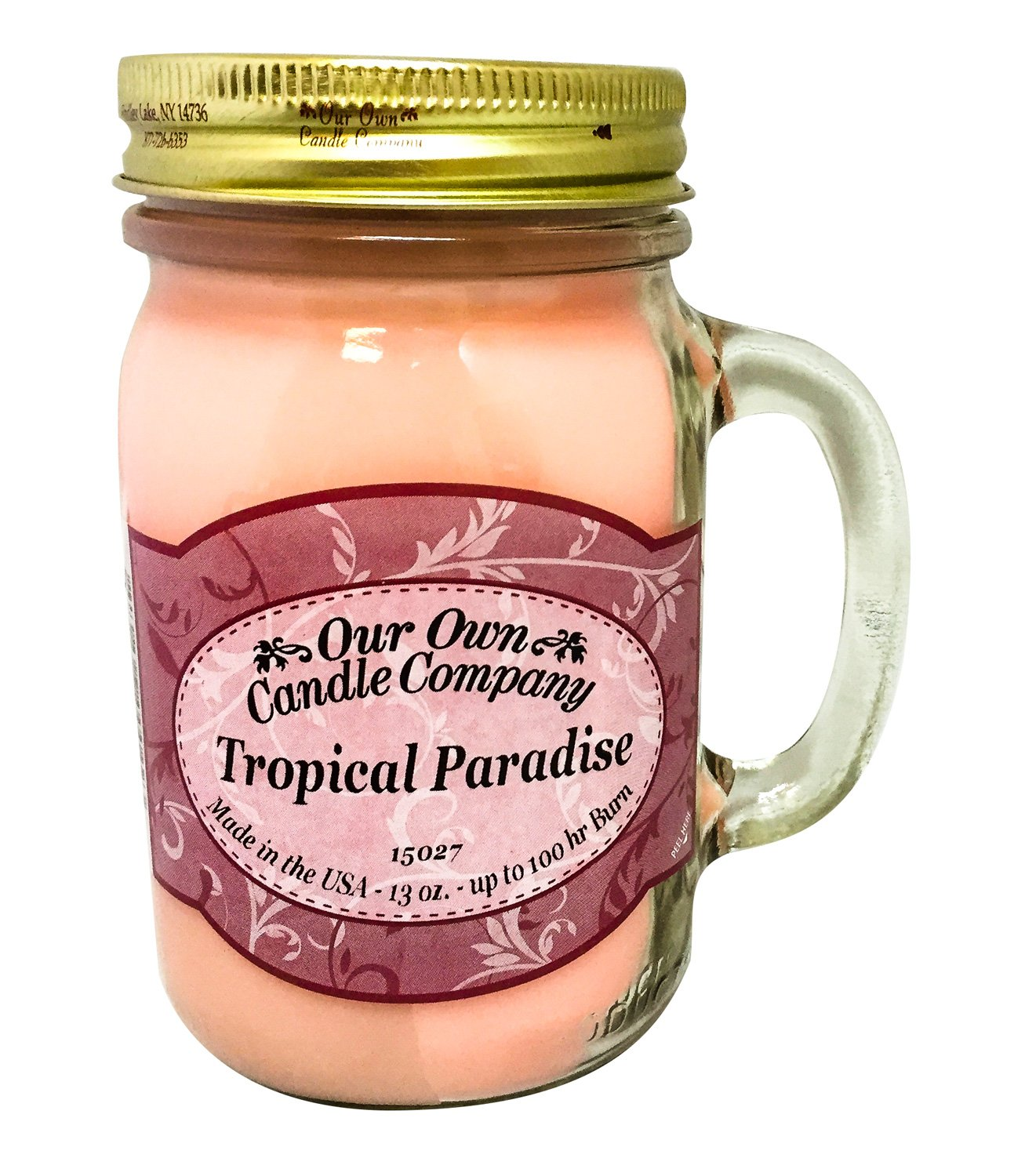 Our Own Candle Company Tropical Paradise Scented 13 Ounce Mason Jar Candle - A juicy blend of Hawaiian coconut, succulent pineapple, bananas and fresh passion fruit make this our most popular summertime island scent 13 oz jar of our specially blended soy and paraffin wax Lead free wick with patented straightener to ensure proper burning every time; Keep wick trimmed to 1/4 inch and remove wick holder before lighting - living-room-decor, living-room, candles - 81F bFrKCIL -