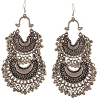 Tiaraz Fashion Stylish Oxidised Afghani Tribal Fancy Party Wear Earrings for Girls and Women (Silver)