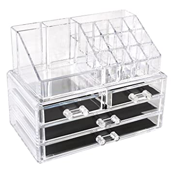 HOMFA Acrylic Clear Cosmetic Makeup Organiser 4 Drawers Holder Case Jewelry Storage Box  sc 1 st  Amazon UK & HOMFA Acrylic Clear Cosmetic Makeup Organiser 4 Drawers Holder Case ...