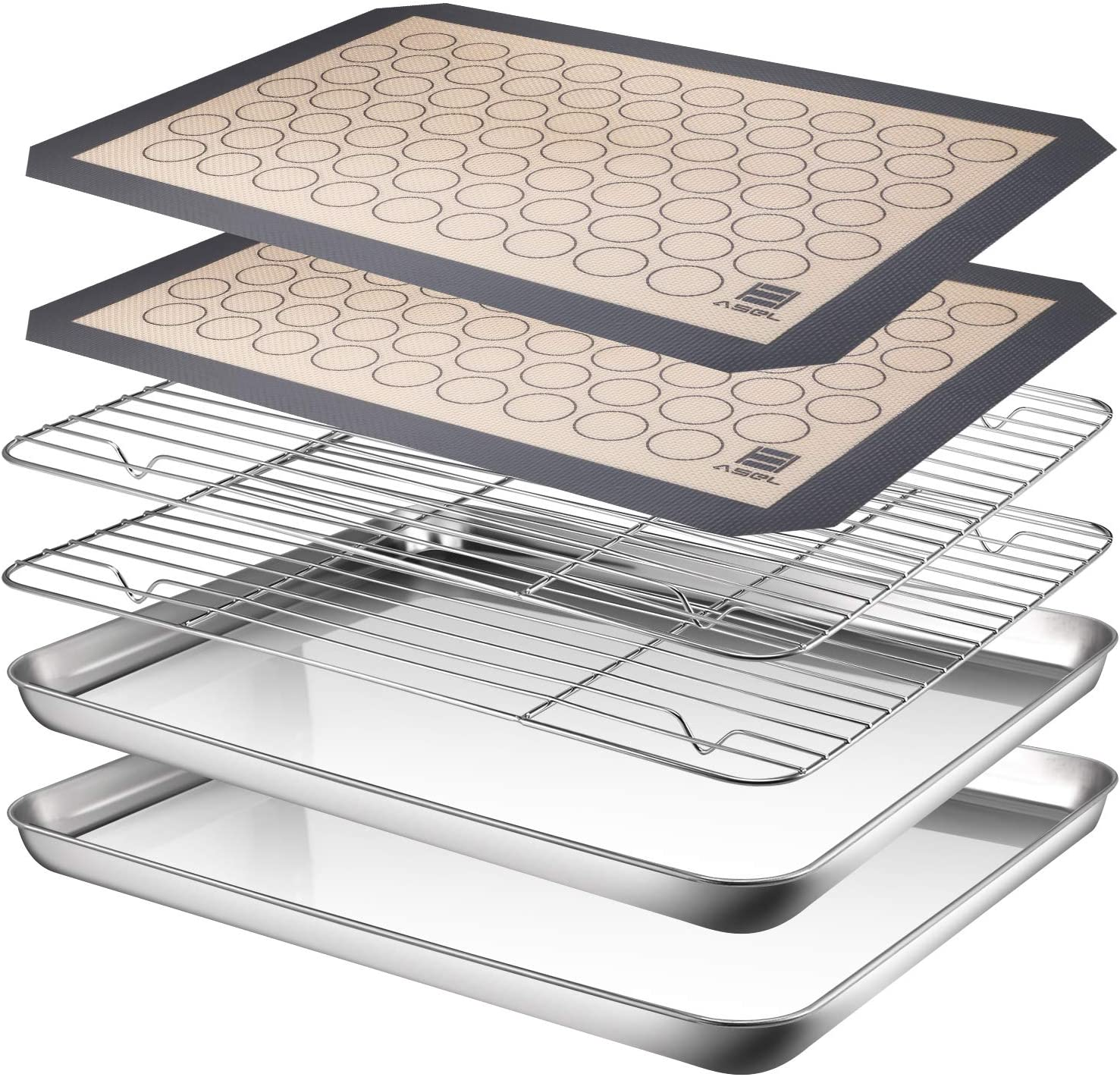 AASELM Stainless Steel Baking Pans Tray Cooling Rack with Silicone Mat, Non Toxic & Healthy, Superior Mirror Finish & Easy Clean, 2 Baking Sheets + 2 Mats + 2 Baking Rack