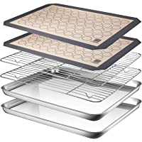 AASELM Stainless Steel Baking Sheet Tray Cooling Rack with Silicone Mat, Non Toxic & Healthy, Superior Mirror Finish…